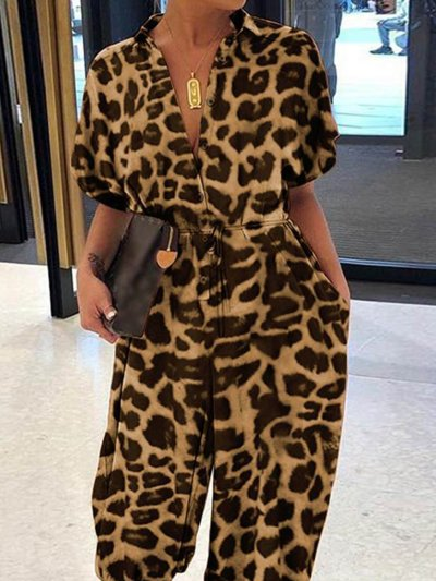 Short Sleeve V Neck Leopard Printed Jumpsuits
