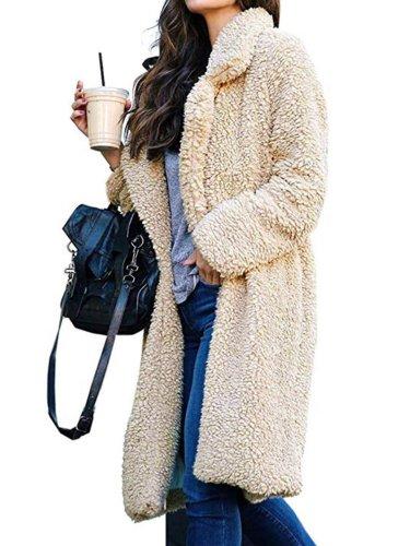 Long Fluffy Sherpa Coat Solid Teddy Bear Coats