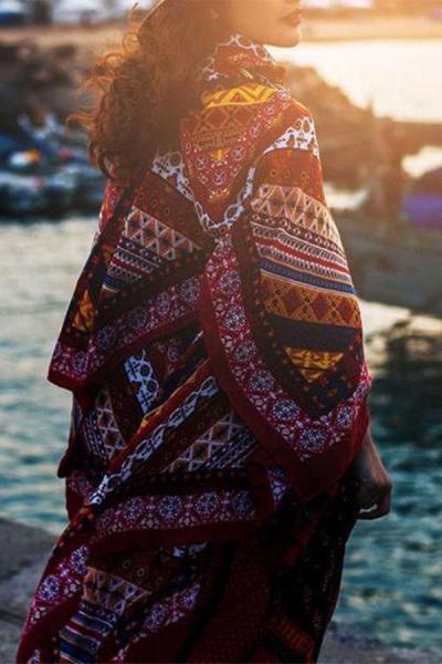 Bohemian Printing Tassel Cardigan Seaside Beachwear