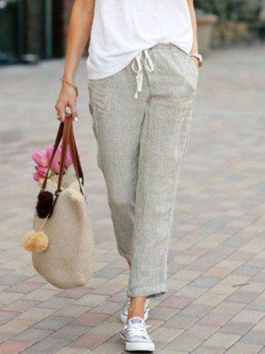 Solid Drawstring Casual Linen Pants