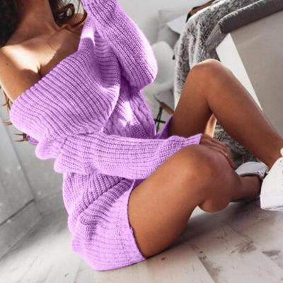 Women's Fashion Boat Neck Off-Shoulder Bag Hip Knit Dress