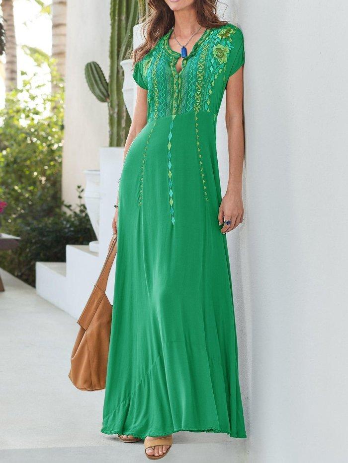 Gray Patchwork Cotton-Blend V Neck Short Sleeve Dresses