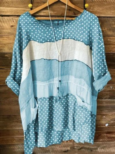 Green 3/4 Sleeve Cotton Polka Dots Shirts & Tops