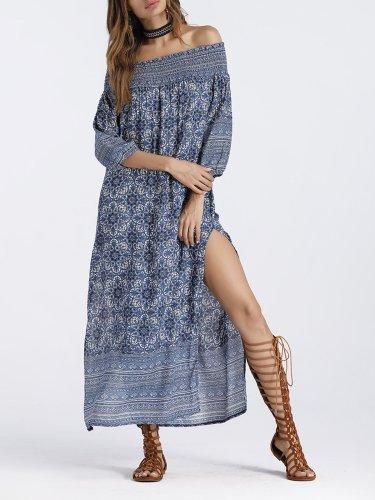 Blue Off Shoulder Casual Dress