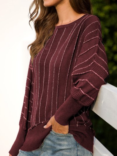 Long Sleeve Casual Stripes Sweaters