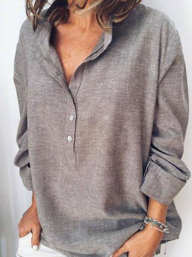 Solid Shirt Collar Casual Long Sleeve Shirts