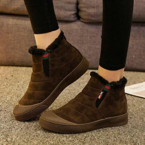 Women Daily Flat Heel Snow Winter Boots Artificial Suede Platform Booties