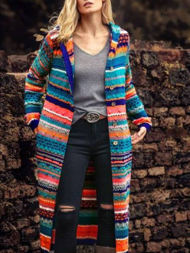 Color-Block Tribal Long Sleeve Boho Cardigan