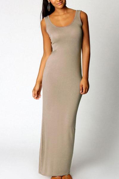 Scoop Neck  Plain Maxi Dresses