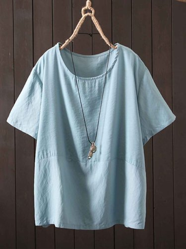 Short Sleeve Solid Round Neck Cotton-Blend Shirts & Tops