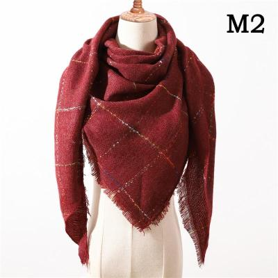 Winter Women Knitted Plaid warm Scarves Triangle Shawls Wrap Warm Cashmere