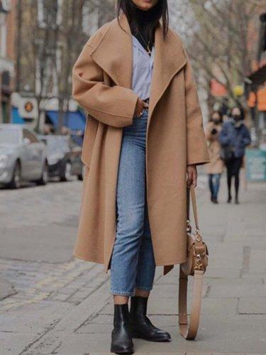 Camel Long Sleeve Plain V Neck Outerwear