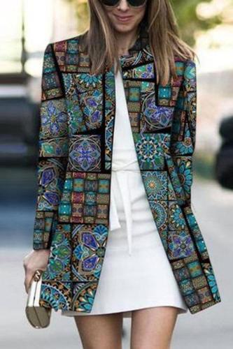 Fashion Printed Colour Long Sleeve Coat