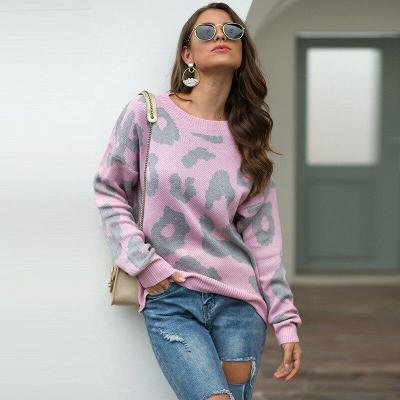Autumn and Winter Leopard Print Sweater Round Neck Loose Pullover Sweater Sweater Pullover  Women Sweater