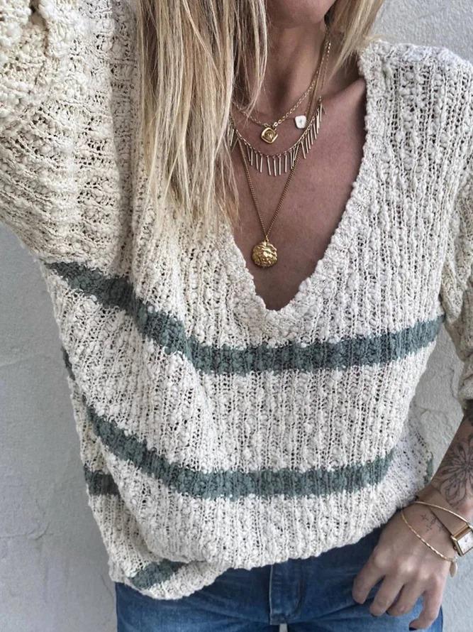 V Neck Casual Stripes Acrylic Sweater