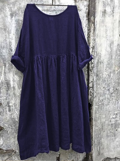 Women Solid Color Linen Dress
