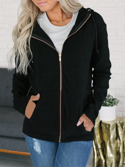 Solid Paneled Casual Polyester Hoody