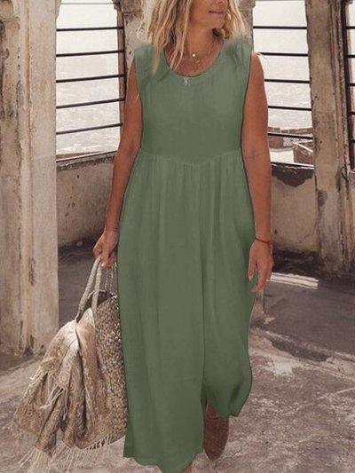 U-Neck Solid Casual Maxi Dresses