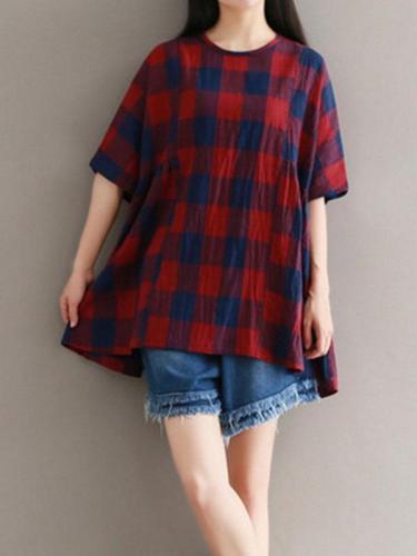 Half Sleeve Cotton-Blend Plaid Round Neck T-Shirts