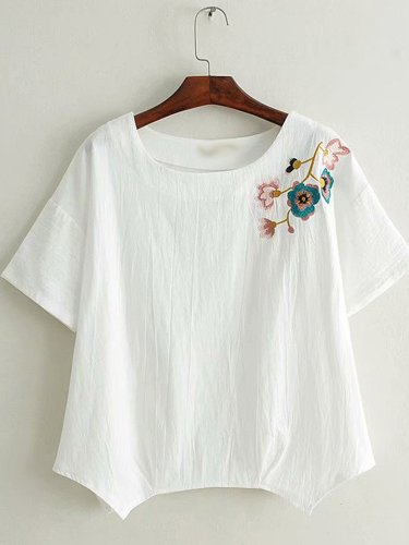 Women Casual Loose Tops Tunic Embroidery Blouse Shirt