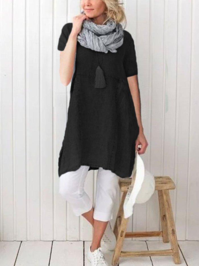 Pockets Short Sleeve Simple & Basic Cotton Dresses