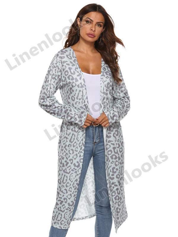 Fashion Leopard Cardigans Women Oversized Cardigan Coat Loose