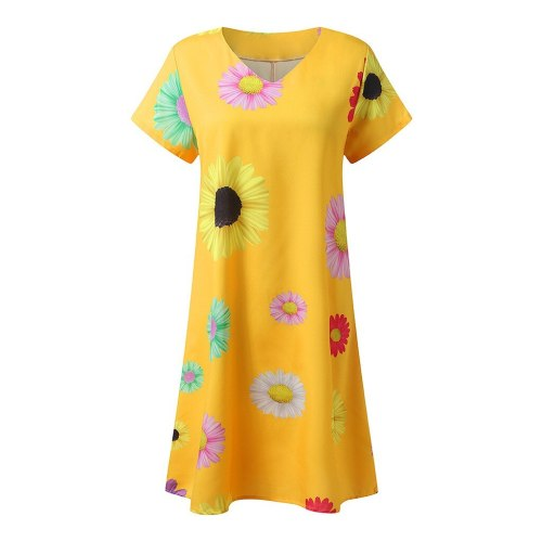 2020 New Fashion Casual Loose Beach Party Floral Print Holiday Dress V-Neck Short Sleeve Mini Dress