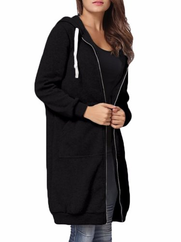 Women Plain Pockets Long Sleeve Plus Size Hoodie Coat