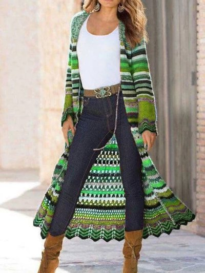 Long Sleeve Knitted Color-Block Vintage Shift Cardigan