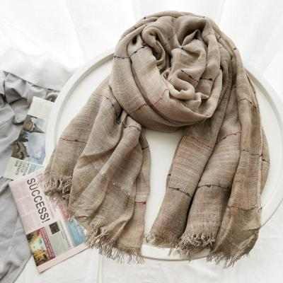 Winter Scarf Cotton and Linen Solider Color Kroean Women's Scarves Shawl Fashion Scarf