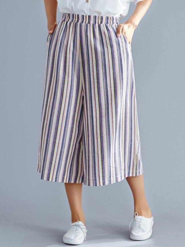 Plus Size Women Striped Casual Wide Leg Pants