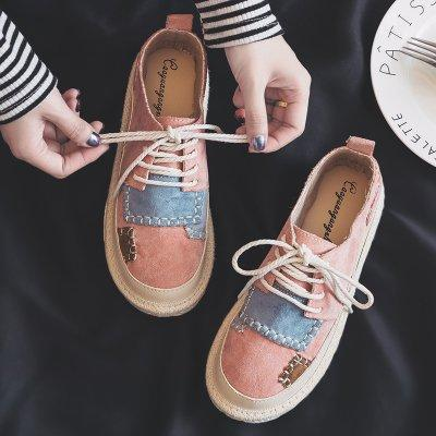 Pink Lace-up Platform Spring/Fall Suede Daily Flats