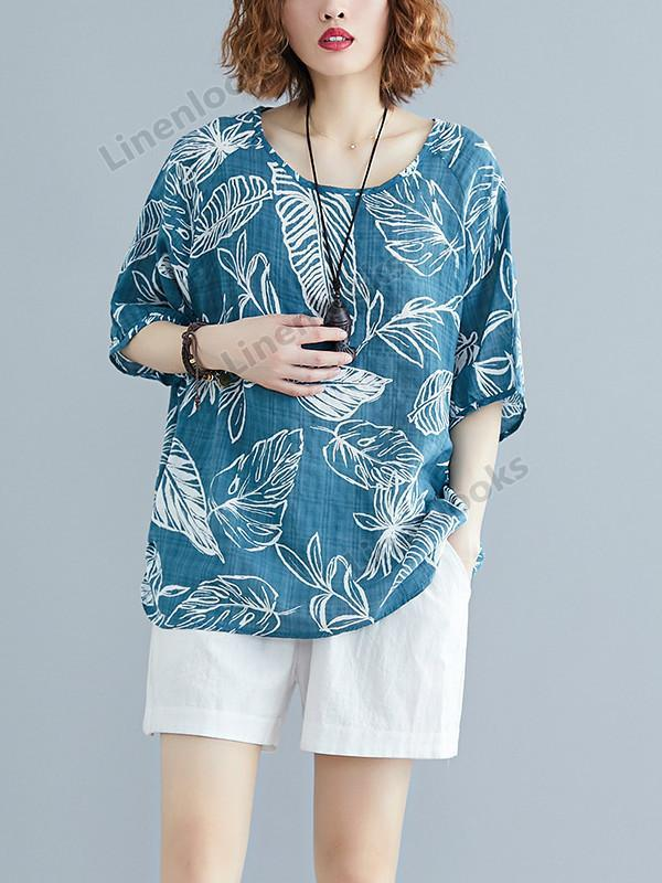 Fashion Long Sleeve Cotton Linen Plus Size Leaf Print Female Loose T Shirt