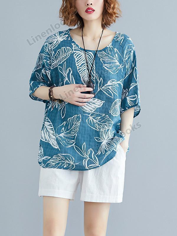 Fashion Long Sleeve Cotton Linen Plus Size Leaf Print Female Loose T Shirt