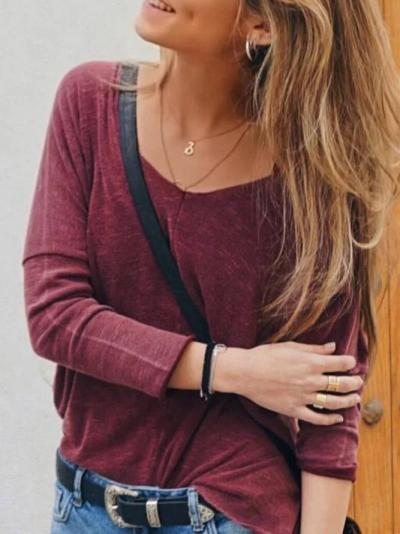 Cotton-Blend Crew Neck Plain Casual Shirts & Tops