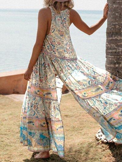 V Neck Casual Floral Maxi Dresses