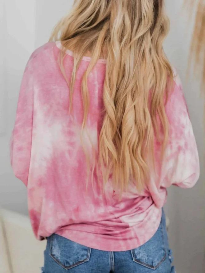 Ombre/tie-Dye Long Sleeve Crew Neck Shirts & Tops