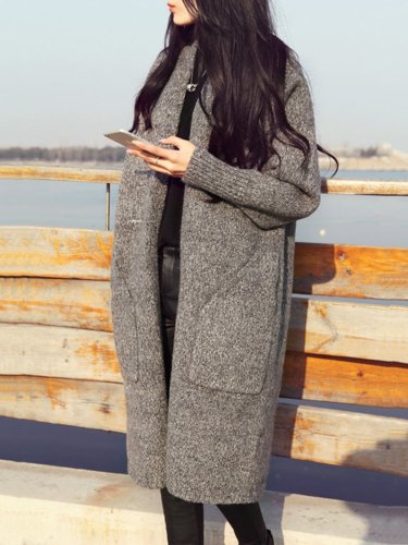 Casual Knitted Long Sleeve Pockets Cardigan