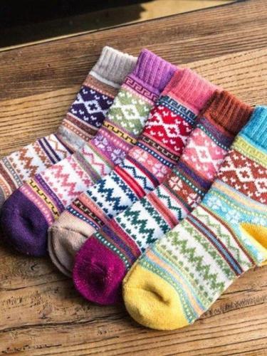 Annychloe Vintage Wool Warm Crew Socks(5 Pairs)