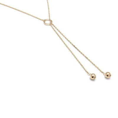 Fashion Vintage Simple Bead Clavicle Sweater Chain Metal Iron Ring Necklace
