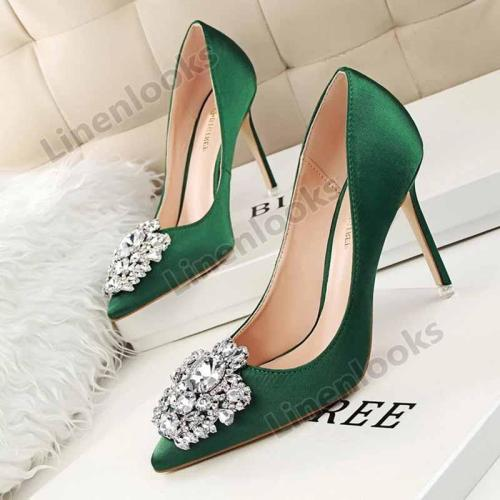 Sexy Pointed Toe Pumps Crystal Silk Shallow Women's Wedding High Heels Shoes