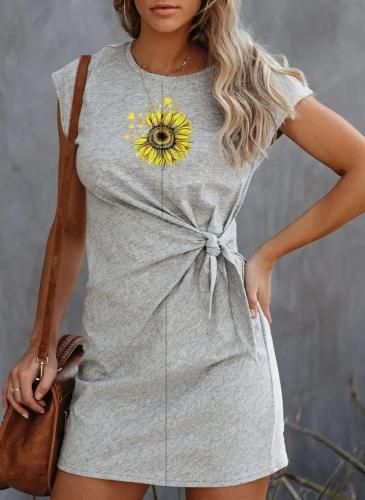 Sunflower Print Casual Crew Neck Dresses