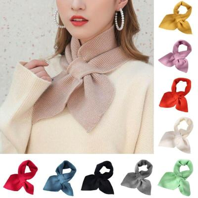 Elegant Small Bow Fishtail Scarves For Women Lady Girl Vintage Sweet Knit Warm Shawls Scarf And Wrap Colorful Scarves