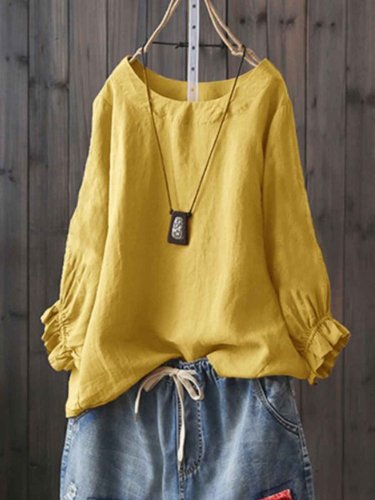 Round Neck Casual Solid Shirts & Tops