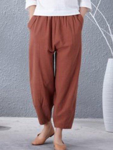 Plus Size Plain Casual Pants
