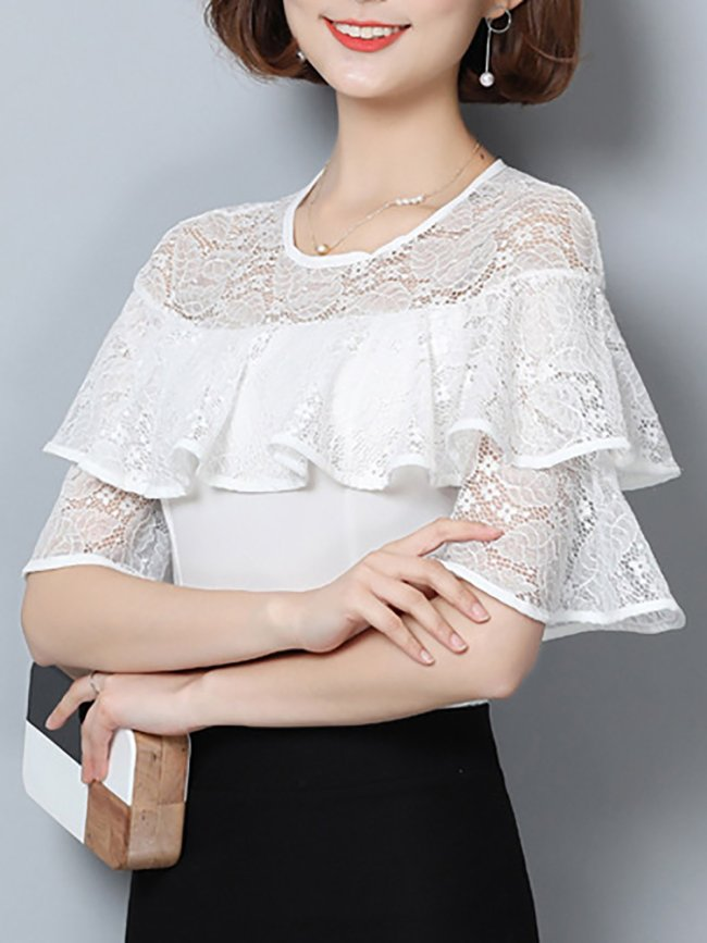 White Shift Paneled Casual Top