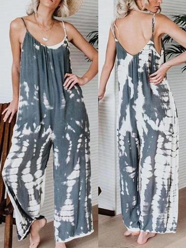 Spaghetti Strap  Backless  Printed  Sleeveless Jumpsuit