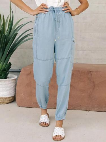 Casual Plain Denim Drawstring Pants