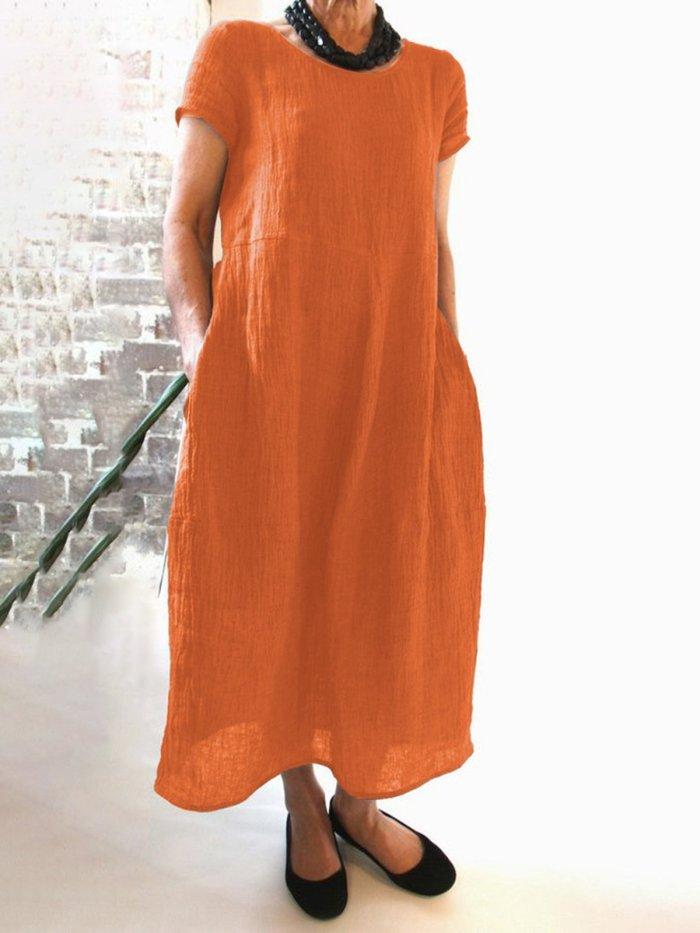 Women Casual Linen Dress Round Neck Short Sleeve Shift Summer Dresses
