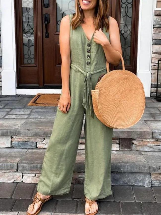 Green Casual Sleeveless Buttoned Jumpsuits